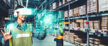 Future Virtual Reality Technology For Innovative VR Warehouse Management . Concept Of Smart Technology For Industrial Revolution And Automated Logistic Control .