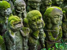 Buddhist Stone Statues At The Otagi Nenbutsu-ji Temple In Arashiyama, Kyoto, Japan