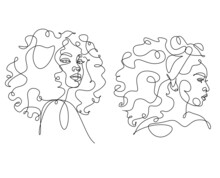 Line Art Woman Face Drawing.  Afro American Female Logo. Contouring Line. Minimalist Face. Beauty Salon