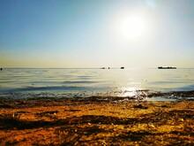 Edge Of Water Salt Lake. Ships. Fishing. Ukraine.