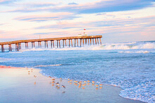 Windy, Colorful Morning At The Ocean City, New Jersey Fishing Pier.