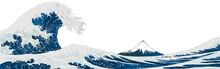Big Wave. No Background, Landscape, Copy Space, Ukiyo-e Style, Ukiyoe, Fuji Mountain, Sea, Wave, Mountain, Vector Illustration, Katsushika Hokusai, New Year's Card, Graphic, Web, Banner, Header