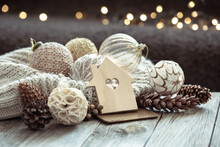 Cozy Christmas Background With Decor Details On A Dark Blurred Background.