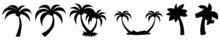 Palm Tree Silhouettes. Palm, Tree, Beach, Tropical, Summer, Vector, Sea, Illustration. Palm Trees Icons Set.