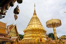 Beautiful Golden Pagoda In Wat Phra That Doi Suthep, Chiangmai Thailand