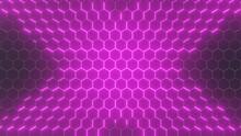 Futuristic Hexagon Emission Background. Hexagonal Pattern, Color Emission, Modern Vector Illustration