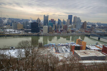 Downtown Pittsburgh Skyline. Pittsburgh Is Known For The Pirates, Steelers, Cheese Steaks And Its Many Bridges