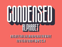 Vector Of Stylized Condensed Alphabet Design With Uppercase, Numbers And Symbols