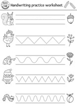 Vector Thanksgiving Handwriting Practice Worksheet. Autumn Printable Black And White Activity For Pre-school Children. Fall Tracing Game For Writing Skills With Cute Forest Animals, Birds, Insects.