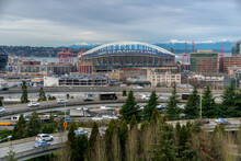 View Of Century Link Field Along The Port Of Seattle, With The Interstate 90 (I-90) Interchange In The Foreground