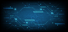 Abstract Digital Technology Futuristic Blue Cyber Concept Background.
