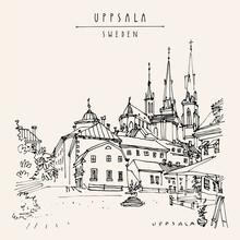 Vector Uppsala, Sweden, Europe Postcard. Old Town Travel Sketch. Beautiful Church, Antique Buildings, Cafe. Vintage Touristic Postcard, Poster Or Book Illustration