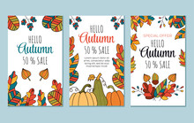 Abstract Hello Autumn Boho Flyers Banners Invitation Special Offer Design Template Isolated Set