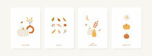 Set Of Fall Season Greeting Cards And Poster Templates. Autumn Minimal Wall Art. Vector Designs With Pumpkins, Leaves, Foliage, Vases And Abstract Shapes.