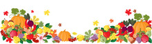 Autumn Harvest. Fruit And Vegetables. Autumn Season Delicacies On A White Background. Food. Fall. Vector Illustration