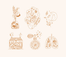 Hand Made Floral Art Style Icons