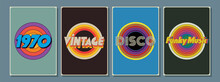 1970s Background Set, Vintage Color Templates For Posters, Covers, Illustrations