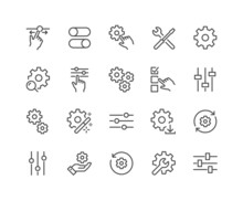 Simple Set Of Setup And Settings Related Vector Line Icons. Contains Such Icons As Installation Wizard, Download, Restore Options And More. Editable Stroke. 48x48 Pixel Perfect.