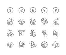 Simple Set Of Currency Related Vector Line Icons. Contains Such Icons As Exchange Rate, Currency Forecast, Change Graph And More. Editable Stroke. 48x48 Pixel Perfect.