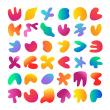 Big Set Of Simple Colorful Organic Shapes, Liquid Gradient Background Stains. Geometric Irregular Figures Silhouette. Abstract Fluid Frame Pack