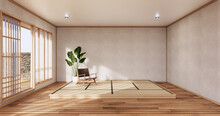The Minimal Room Japanese Style Design.3D Rendering
