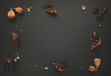 Autumnal-winter Composition With  Dried Leaves, Bark Of Trees And Berries On Dark Background.  Flat Lay, Copy Space.
