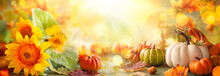 Festive Autumn Decor From Pumpkins, Flowers And Fall Leaves. Concept Of Thanksgiving Day Or Halloween