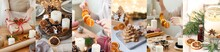 Zero Waste, Eco Friendly Christmas Concept. Pack Gifts In Recyclable Craft Paper, Decorate Table With Cone, Dry Orange, Pine Branch, Ribbons. Cook Gingerbread Cookies. Create Holiday Atmosphere