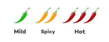 Spicy Chilli Pepper Level - Mild, Spicy, Hot Isolated On Background. Pepper Sauce With Fire Flame. Illustration 10 Eps