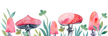 Banner Pattern With Watercolor Red Poisonous Mushrooms. Set Of Amanita Fly Agaric Mushrooms Isolated On White