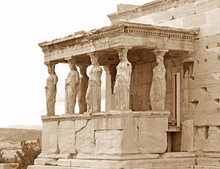 The Iconic Caryatid Porch Of The Erechtheum Ancient Greek Temple On The Acropolis Of Athens, Greece In Sepia