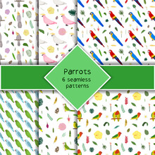 Parrot Seamless Pattern Collection In Cartoon Style. Parrots Macaw, Pink And White Cockatoo, Lovebird, Tropical Leaves And Flowers Set Of Six Backgrounds. Cute Baby Print For Fabric And Textile.