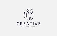 Panda Logo Design Template. Simple Panda Line Design. Creative Vector Icon Design Concept.