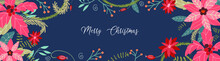 Christmas Banner With Winter Flowers, Poinsettia, Fir Tree, With The Inscription Merry Christmas