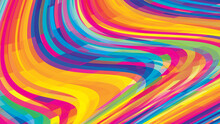 Bright Multicolor Background With Colored Wavy Stripes. Versicolored Vector Graphics
