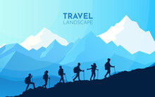 Sports Team Climb A Mountain. Cooperation. Travel Concept Of Discovering, Exploring, Observing Nature. Hiking Tourism. Adventure. Minimalist Graphic Flyers. Polygonal Flat Design. Vector Illustration