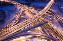 Multilevel Transport Interchange Night Lights Winter Drone View