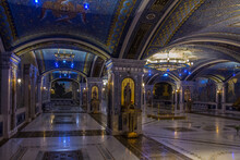 Multi-colored Richly Decorated Interior Of The Main Temple Of The Russian Armed Forces With Mosaics, Frescoes And Inlays In Kubinka Moscow Region