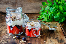 Layer Fruit Dessert In Glass Container