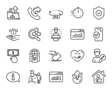 Vector Set Of Cooking Timer, Edit Person And Work Home Line Icons Set. 360 Degrees, Information And Brand Ambassador Icons. Approved Phone, Yummy Smile And Consolidation Signs. Vector