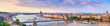 Leinwandbild Motiv City summer landscape, panorama, banner - top view of the historical center of Budapest with the Danube river, in Hungary