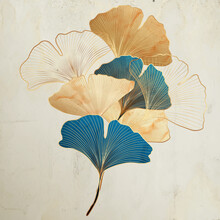 Art Background With Decorative Ginkgo Leaves In Vintage Style In Gold And Turquoise Colors.