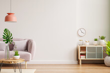 Interior Wall Mockup With Sofa And Cabinet In Living Room With Empty White Wall Background.