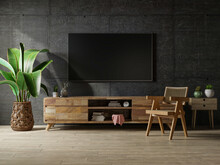 Loft Space Empty Room With Tv And Cabinet On Dark Concrete Interior Background.