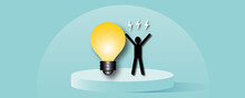 Man With Light Bulb With Flash On Pastel Blue Background As Metaphor For Concept Innovation Thinking Creative, Success Inspiration, Business Idea, Paper Cut Design Style.