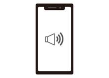 スマートフォン スピーカーイメージイラスト モノクロ 正面