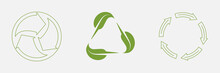 Recycle Icon, Rotation Arrow. Circle And Triangle Shapes. Plant, Green Leaf, Ecology And Nature Concept. Zero Waste Logo. Vector Set Illustration Isolated On White Background, EPS 10
