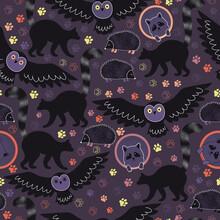 Nocturnal Animals Seamless Pattern