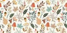 Autumn Decorative Seamless Pattern With Seasonal Elements, Acorns, Plants, Leaves, Mushrooms