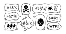 Comic Speech Bubble With Swear Words Symbols. Hand Drawn Speech Bubble With Curses, Lightning, Skull, Bomb And Bones. Vector Illustration Isolated In Doodle Style On White Background.